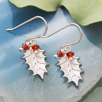 Sterling Silver Holly Garnet Drop Earrings