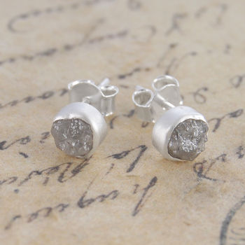 Rough Diamond Silver Stud Earrings