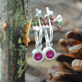 Pink Ruby Silver Circular Hoop Earrings