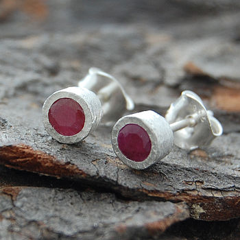 Precious Pink Ruby Birthstone Silver Round Stud Earrings