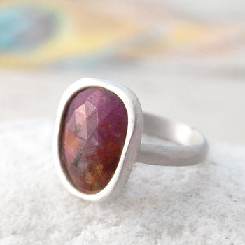 Sterling Silver Precious Ruby Birthstone Ring