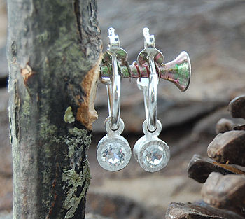 Round White Topaz Silver Hoop Earrings