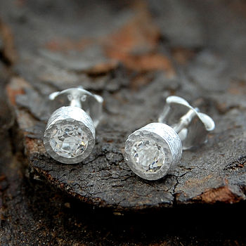 White Topaz Birthstone Round Silver Earrings
