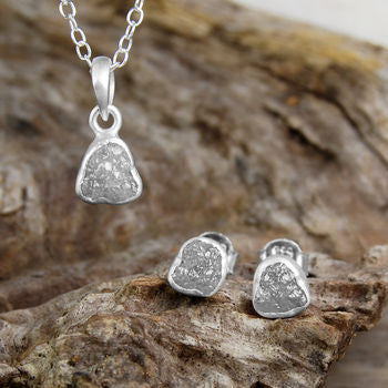 Silver Rough Diamond Birthstone Jewellery Gift Set