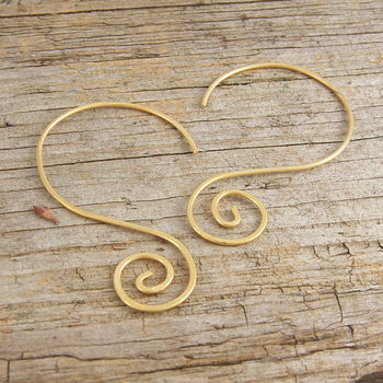 Gold Spiral Statement Drop Earrings