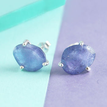 Purple Tanzanite Birthstone Silver Stud Earrings