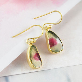 Teardrop Watermelon Tourmaline Gold Drop Earrings