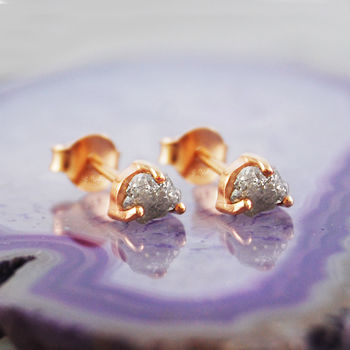 Tiny Raw Diamond Anniversary Rose Gold Stud Earrings