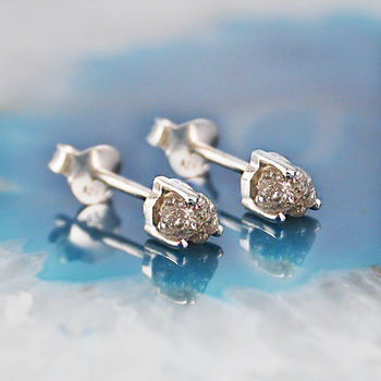 Tiny Silver Raw Diamond Birthstone Stud Earrings