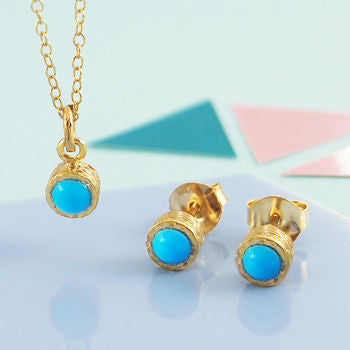 Round Turquoise Gemstone Gold Jewellery Gift Set