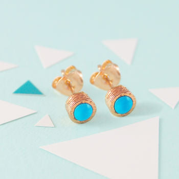 Blue Turquoise Birthstone Rose Gold Stud Earrings