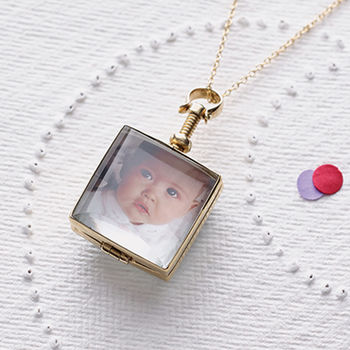 Vintage Style Square Gold Locket Necklace