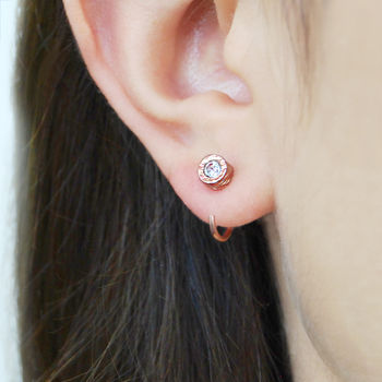 Tiny Rose Gold Hoop White Topaz Stud Earrings