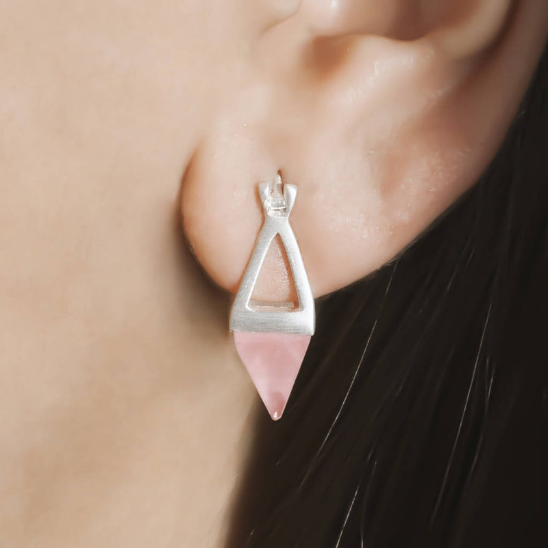 Sterling Silver Aqua Pyramid Earrings