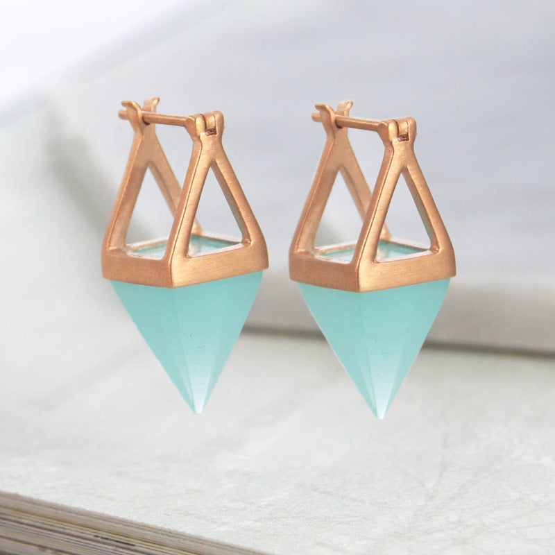 Rose Gold Aqua Pyramid Earrings