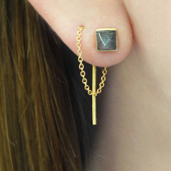 Labradorite Gold Geometric Threader Earrings