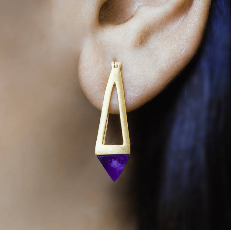 Gold Amethyst Pyramid Drop Earrings