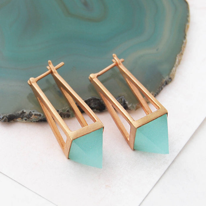 Rose Gold Blue Aqua Chalcedony Geometric Earrings
