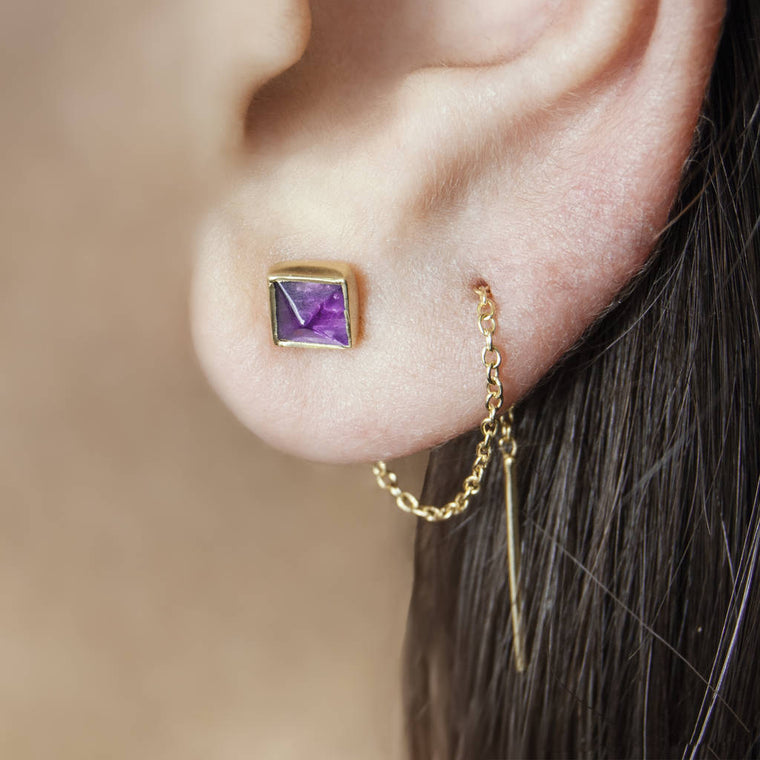 Gold Amethyst Threader Earrings