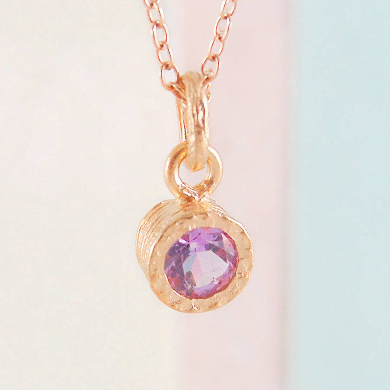 Amethyst Rose Gold February Birthstone Necklace