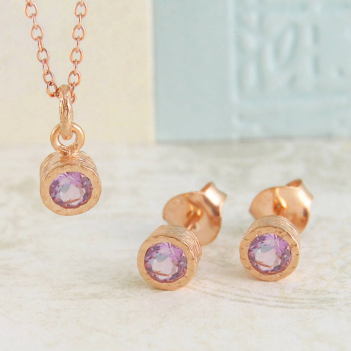 Rose Gold Amethyst February Birthstone Stud Earrings