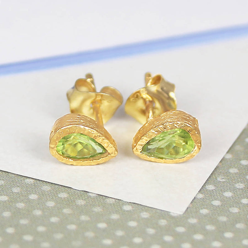Silver And Green Peridot Tear Drop Stud Earrings