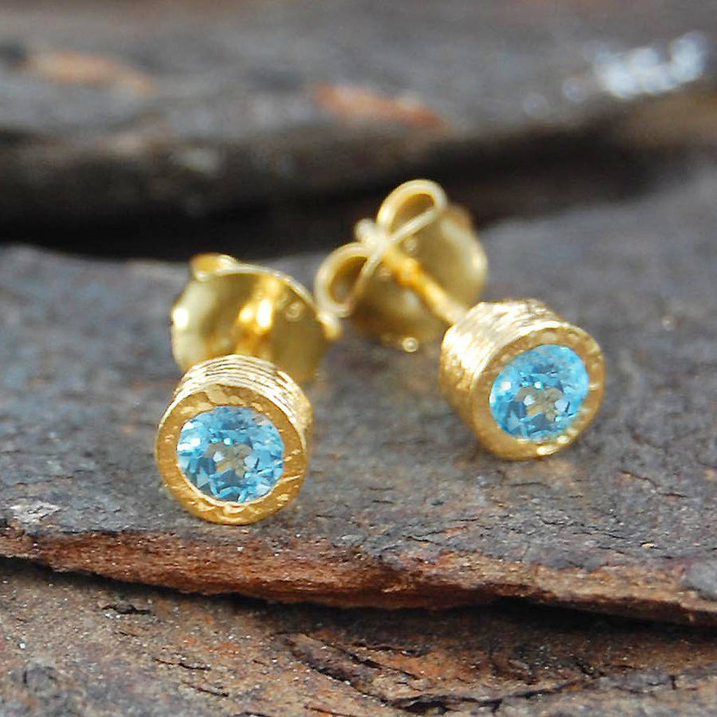 Blue Topaz Round Gold Stud Earrings