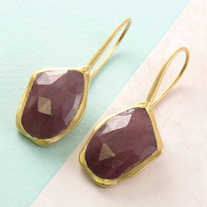 Geometric Red Sapphire Faceted Gold Drop Earrings