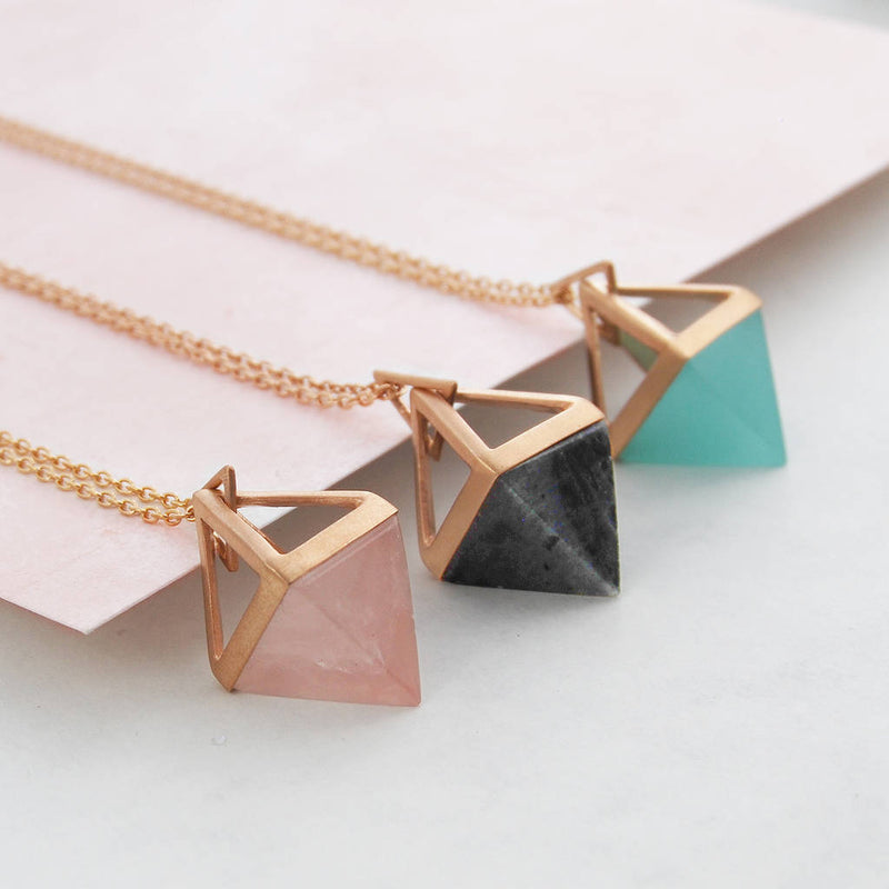 Geometric Pyramid Rose Gold Gemstone Necklace