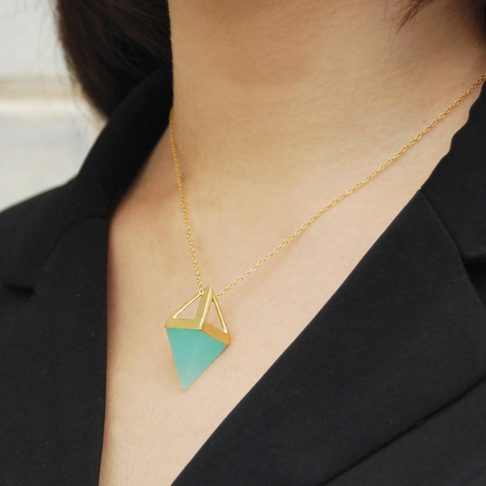Geometric Pyramid Rose Gold Multi Gemstone Necklace