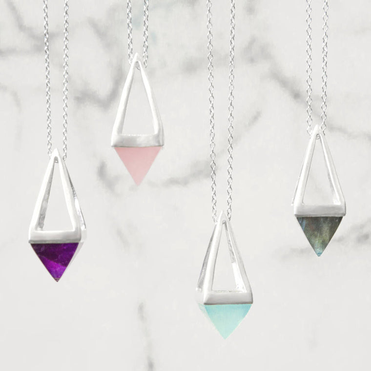 Geometric Silver Multi Gemstone Pyramid Necklace