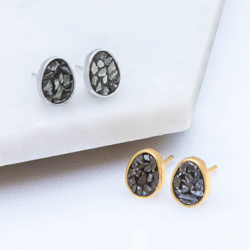 Gold And Silver Black Crushed Diamond Stud Earrings
