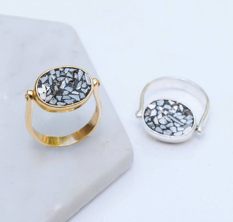 Gold And Silver Crushed Diamond Rotating Ring