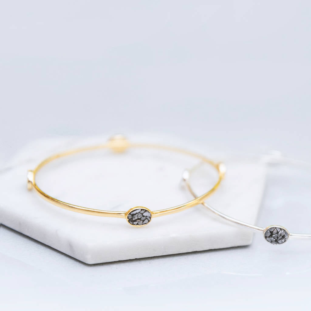 Gold And Silver Crushed Diamond Stacking Bangle