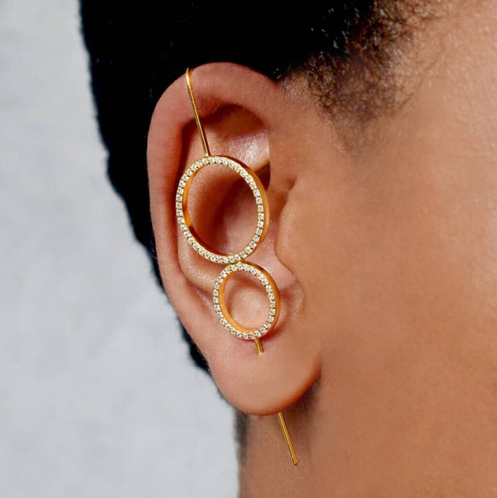 Topaz Gold Double Circle Ear Cuff Earrings