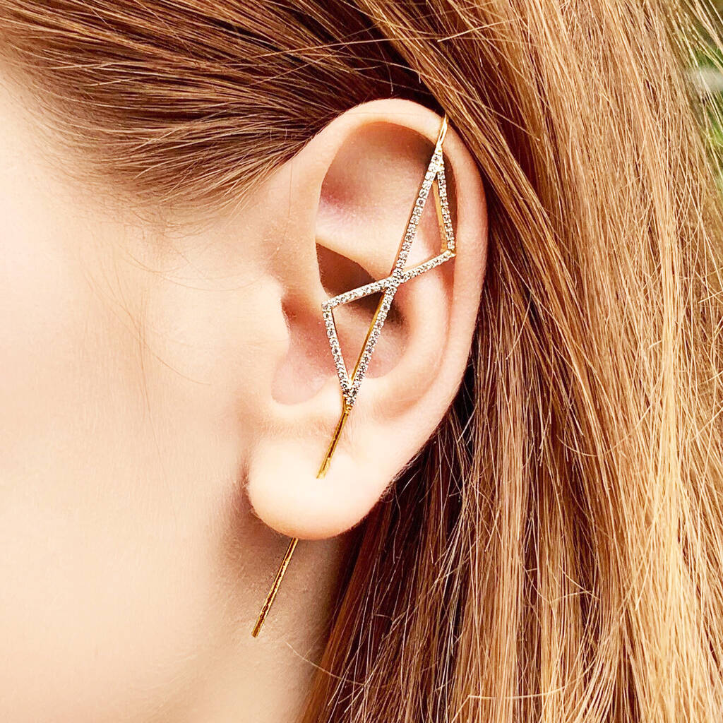 Gold and White Topaz Triangle Ear Cuff Earrings