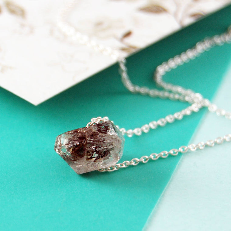 Silver Birthstone Herkimer Diamond Nugget Necklace