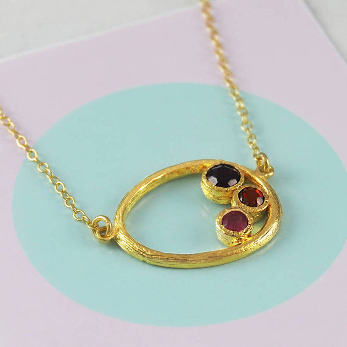 Gold Oval January Birthstone Garnet And Ruby Necklace