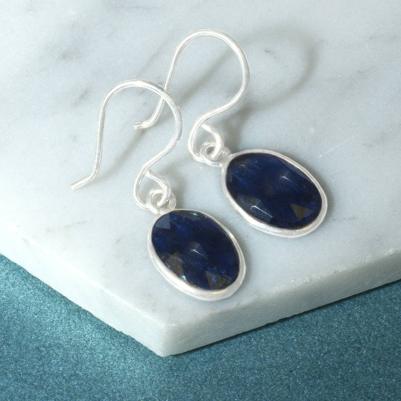 Violet Iolite Gemstone Silver Drop Earrings