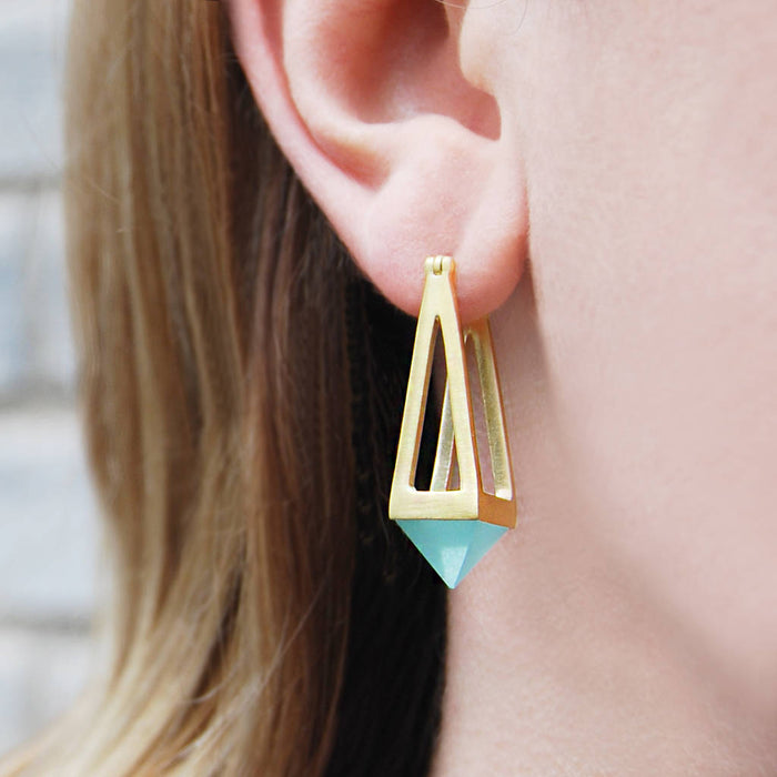 Aqua Chalcedony Gold Pyramid Drop Earrings