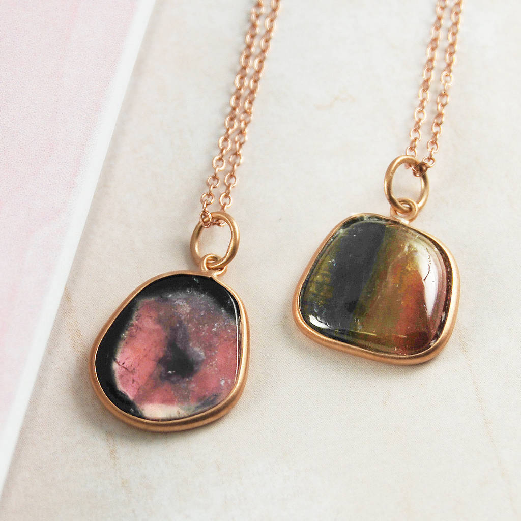 Rare Watermelon Tourmaline Rose Gold Necklace