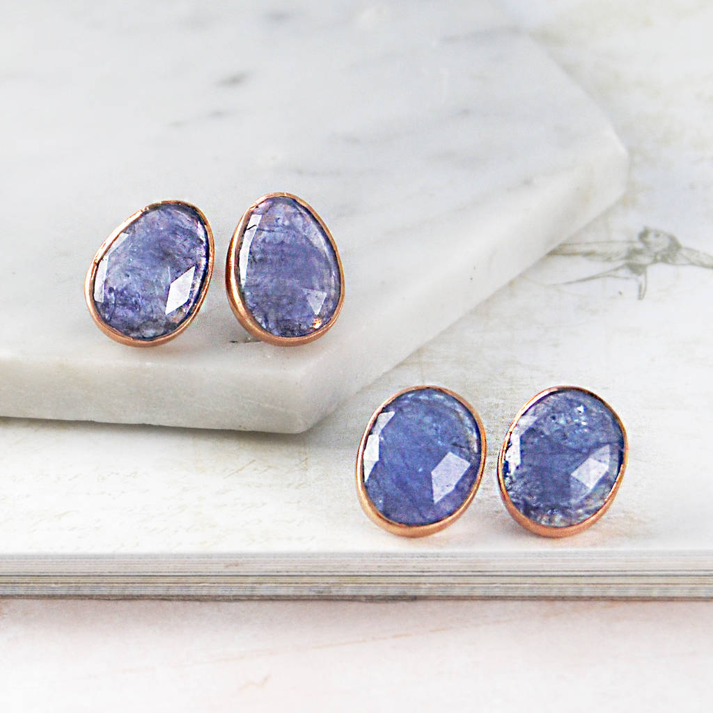 Large Tanzanite Rose Gold Stud Earrings