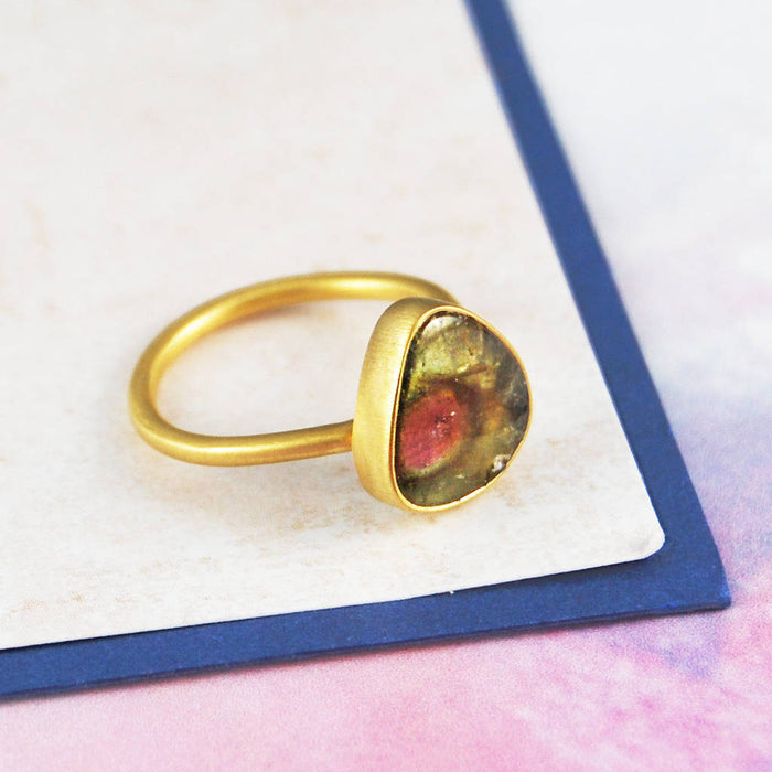 October Birthstone Watermelon Tourmaline Gold Ring