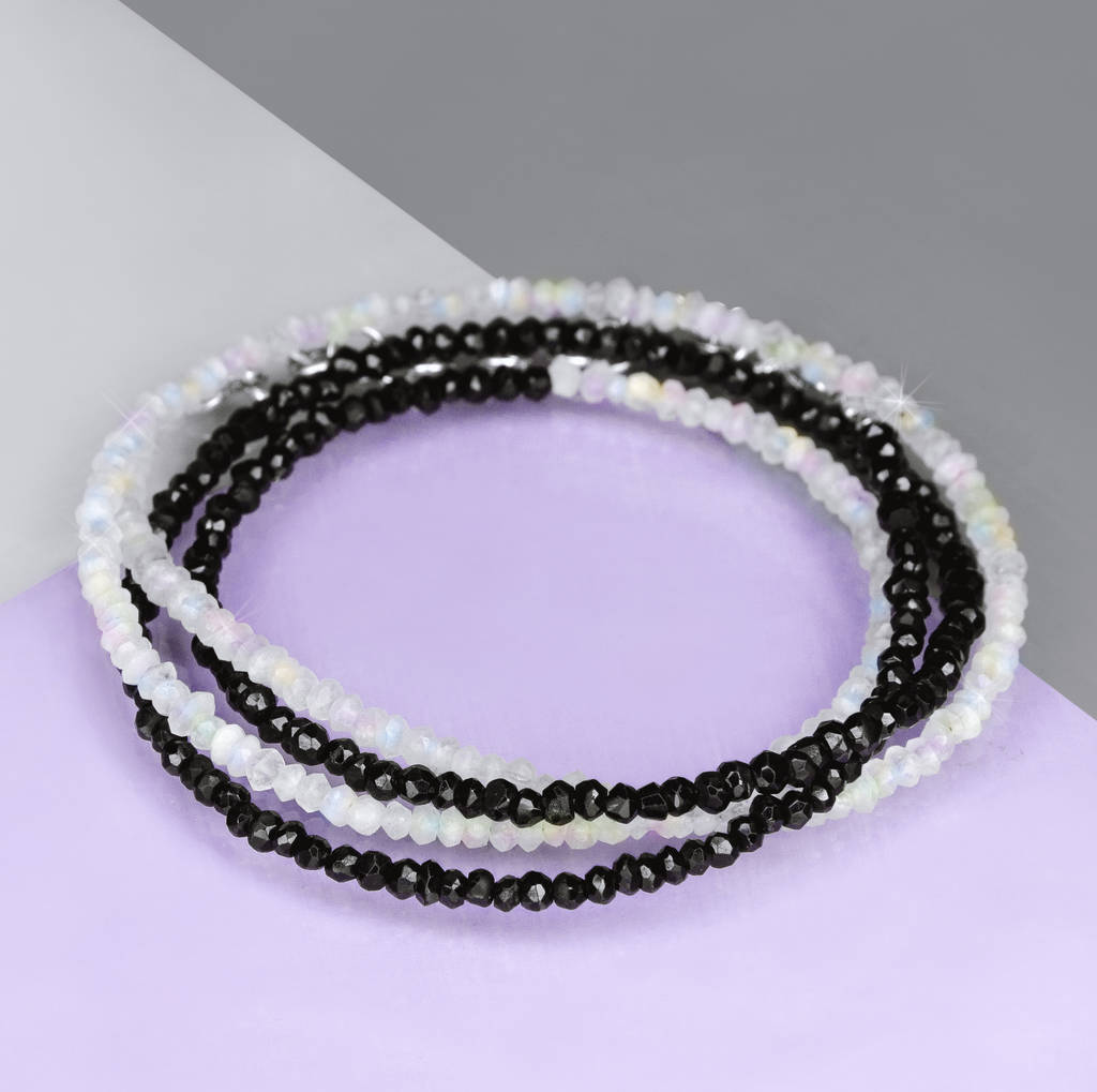 Onyx And Moonstone Gemstone Wrap Bracelet/Necklace
