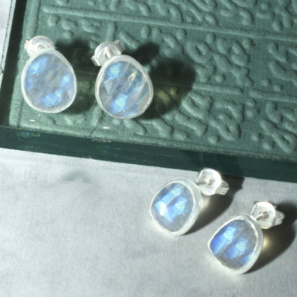 Rainbow Moonstone Silver Gemstone Stud Earrings