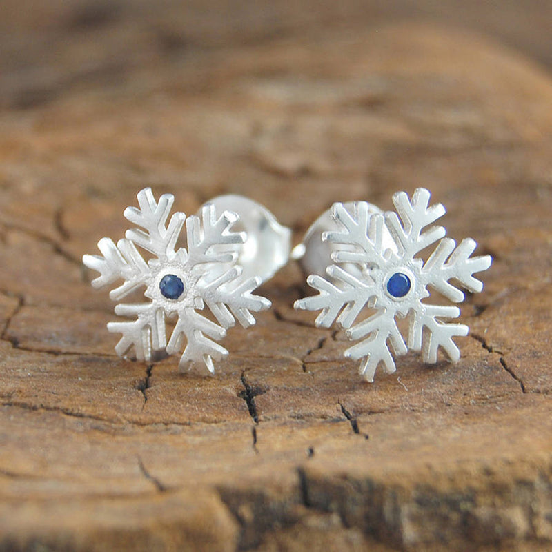 Silver Snowflake Red Sapphire Earrings