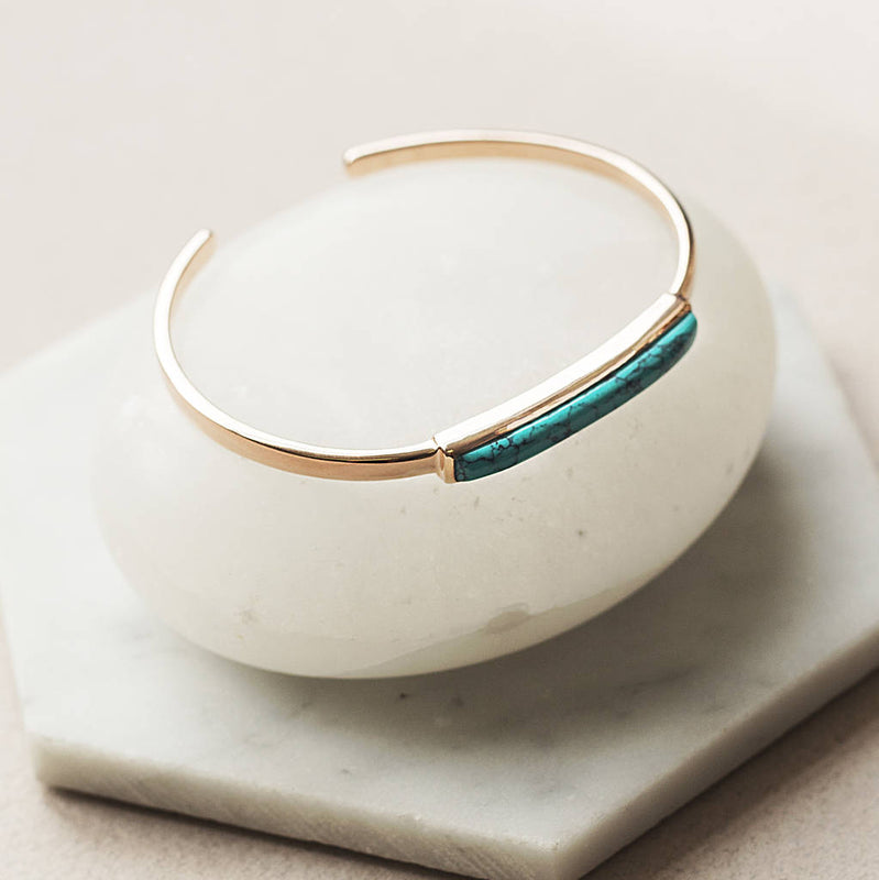 Rose Gold December Birthstone Turquoise Cuff Bangle