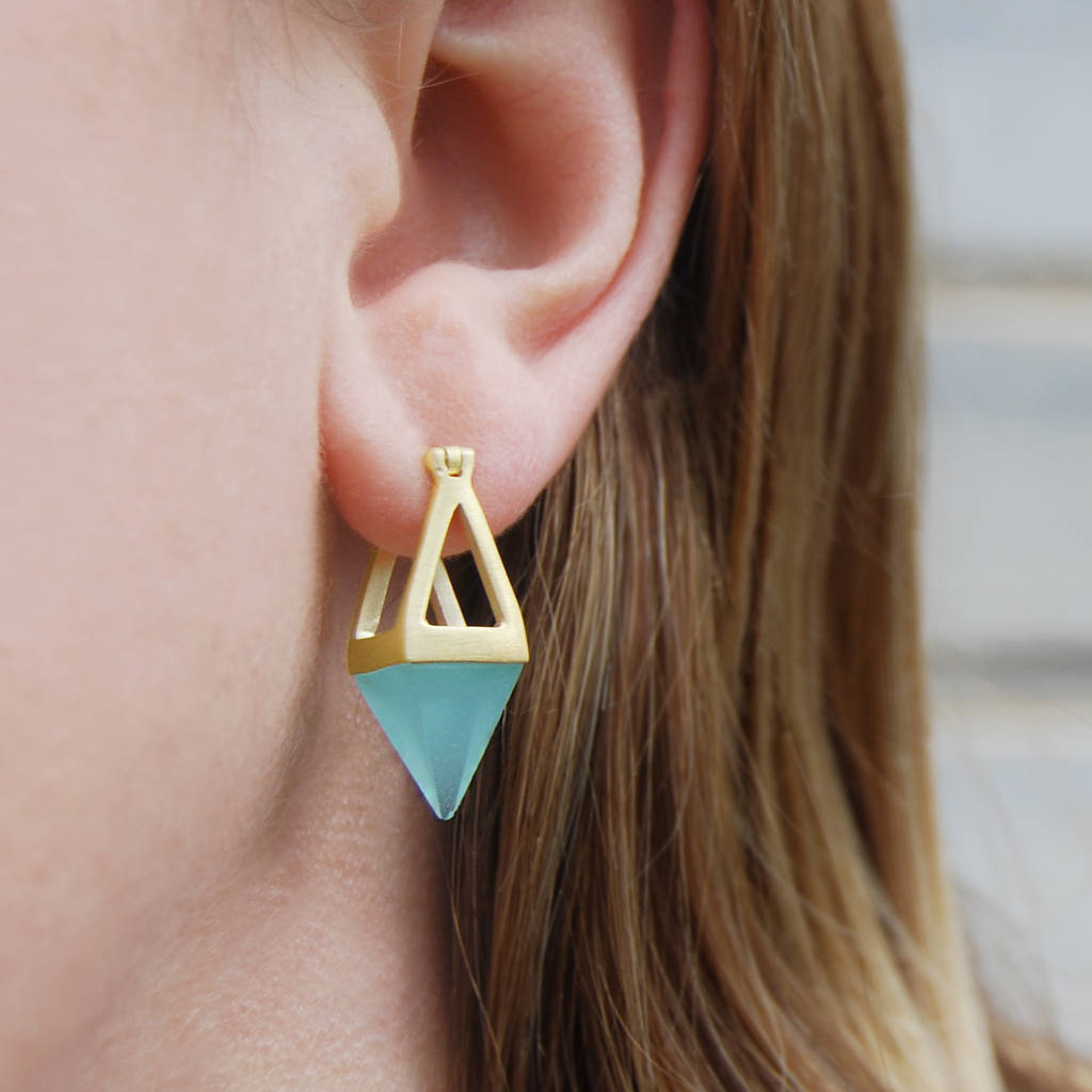 Aqua Chalcedony Small Gold Geometric Earrings