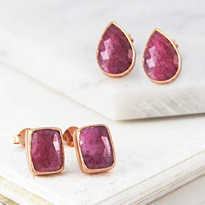 Rose Gold Ruby Geometric Shaped Stud Earrings