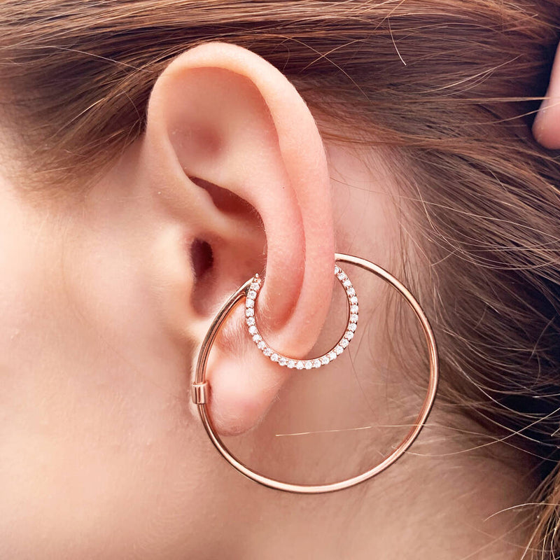 Rose Gold Ear Cuff White Topaz Statement Stud Earrings